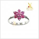 แหวนทับทิมพม่า รูปดอกไม้ เงินแท้925 ชุบทองคำขาว