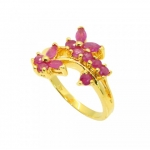 แหวนทับทิมแดง ตัวเรือนอัลลอยด์หุ้มทองคำแท้