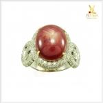 แหวนทับทิมหลังเบี้ย ทองแท้ เพชรแท้ ดีไซน์สวยเก๋(ขายแล้ว)
