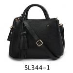 SL344-1 กระเป๋าถือ/สะพาย หนังแท้ สีดำ