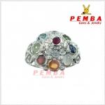 แหวนพลอยนพเก้า ตามตำรา เงินแท้925 ชุบทองคำขาว แหวนพลอยแท้