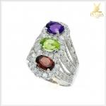 แหวนพลอยแท้ 3 สี อเมทิสต์ เพริดอต โกเมน ใส่ติดนิ้วเก๋ๆ