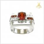 แหวนสเปสซาร์ไทต์การ์เนต โกเมนสีส้มสวยใส ดีไซส์เรียบๆ ดูดีมีสไตล์