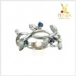 แหวนไพลิน แหวนพลอยไพลิน รูปใบมะกอก