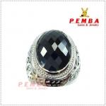 แหวนนิลแท้ เงินแท้925 ชุบทองคำขาว น้ำหนัก 22.15 กะรัต