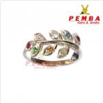 แหวนนพเก้า ใบมะกอก เงินแท้925 ชุบทองคำขาว