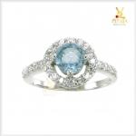 แหวนอะความารีนแท้ ล้อมเพชรCZ สวยเก๋น่ารักๆ ค่ะ