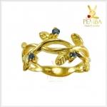 แหวนไพลิน ใบมะกอก เงินแท้ ชุบทอง