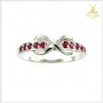 แหวนทับทิมพม่า Infinity เงินแท้ ชุบทองคำขาว
