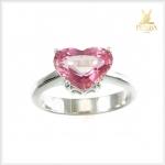 แหวนพิงค์ทัวร์มาลีนแท้ รูปหัวใจ เงินแท้ ชุบทองคำขาว