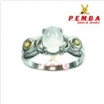 แหวนมูนสโตน เงินแท้ ชุบทองคำขาว(ส่งฟรีEMS)