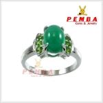 แหวนพลอยโมราแท้ เงินแท้925 ชุบทองคำขาว