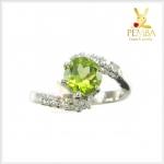 แหวนเพริดอตแท้ เงินแท้ สีเขียวสด