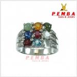 แหวนนพเก้า ถูกต้องตามตำรา เงินแท้925 ชุบทองคำขาว แหวนพลอยแท้