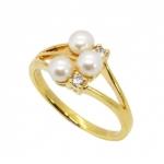 แหวนไข่มุกแท้ 3 เม็ดประดับเพชร อัลลอยด์หุ้มทองคำแท้