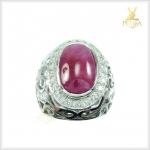 แหวนทับทิมพม่า เงินแท้ ชุบทองคำขาว
