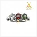 แหวนพลอย 3 สี เงินแท้ ชุบทองคำขาว เสริมมงคลโชคลาภ