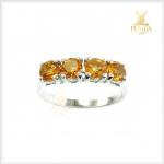 แหวนซิทริน แถว 4 เม็ด เงินแท้