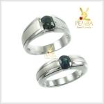 แหวนพลอยคู่รักFeel good พลอยเขียวส่องแท้(มรกตจันท์) เงินแท้