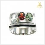 แหวนพลอยแท้ 3 สี เงินแท้ เสริมโชคลาภ