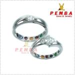 แหวนเพชรคู่ Feel good ฝังพลอยนพเก้าแท้ เงินแท้925 ชุบทองคำขาว