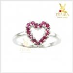 แหวนทับทิมพม่า รูปหัวใจ เงินแท้925 ชุบทองคำขาว