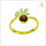 แหวนโกเมน ทองแท้ ดีไซน์เก๋ๆ ใบมะกอก(สอบถามราคา)