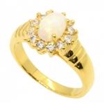 แหวนโอปอลสีขาวล้อมเพชร ตัวเรือนอัลลอยด์หุ้มทองคำแท้