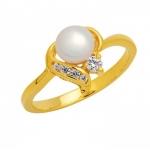 แหวนไข่มุกแท้ประดับเพชร ฝังเตยและฝังสอด อัลลอยด์หุ้มทองคำแท้