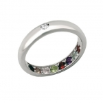 แหวนพูนทรัพย์พลอยนพเก้าหุ้มทองคำขาวแท้