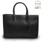 SL337-1 กระเป๋าถือหนังแท้ ชนิดหนังอัดลาย สีดำ (Black)