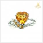 แหวนซิทริน รูปหัวใจ เงินแท้ ชุบทองคำขาว