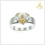 แหวนซิทรินแท้ เงินแท้ ชุบทองคำขาว