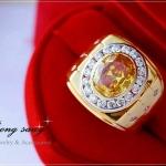 แหวนผู้ชายหุ้มทองแท้ประดับด้วยเพชรสวิส cz แท้ รหัส INJ115