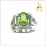แหวนเพริดอตแท้ สีเขียวสด เงินแท้925 ชุบทองคำขาว