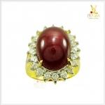 แหวนทับทิมหลังเบี้ย ทองแท้ ล้อมเพชรแท้อย่างสวยงาม(ขายแล้ว)