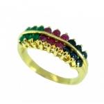 แหวนพลอยผู้หญิงประดับโมรา ไพลิน ทับทิม ตัวเรือนอัลลอยด์หุ้มทองคำแท้
