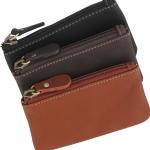 Sun Lifestyle กระเป๋าหนังใส่เหรียญและบัตรขนาดเล็กแบบมีซิปสำหรับสตรีและบุรุษ
