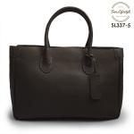 SL337-5 กระเป๋าถือหนังแท้ ชนิดหนังอัดลาย สีช็อคโกแลต (Choco)