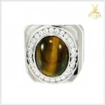 แหวนตาเสือ เงินแท้ ชุบทองคำขาว สวมใส่โดดเด่นเต็มๆ นิ้ว