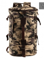 TR03 กระเป๋าทรงกระบอกใหญ่ แคนวาส ลายทหาร