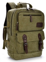 VT07- Green กระเป๋าเป้แคนวาส กระเป๋าผู้ชาย สีเขียว