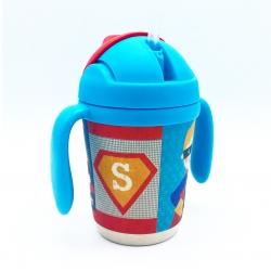 แก้วบรรจุเครื่องดื่มแบบหลอดพร้อมมือจับชนิดปลอดสารพิษ Yookidoo Natural Bamboo Fibre Straw Cup (Super Hero)