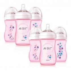 ชุดขวดนมปลอดสารพิษสุดน่ารัก Philips AVENT 9-Ounce Natural Bottles Set (Pink Flower Limited Edition)