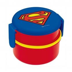 กล่องอาหารกลางวันและของว่าง Skater 2-Level Bento Lunch Box with Fork (Super Man)