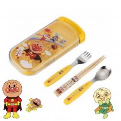 ชุดอุปกรณ์รับประทานอาหารสำหรับเด็ก Anpanman Spoon, Fork & Chopsticks Trio Set with Sliding Box