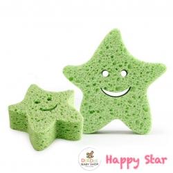 ฟองน้ำนุ่มละมุนจากเยื่อพืชธรรมชาติ Baby's Deluxe Bath Sponge (Star)