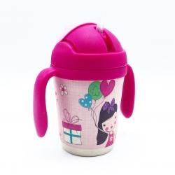 แก้วบรรจุเครื่องดื่มแบบหลอดพร้อมมือจับชนิดปลอดสารพิษ Yookidoo Natural Bamboo Fibre Straw Cup (Birthday Party)