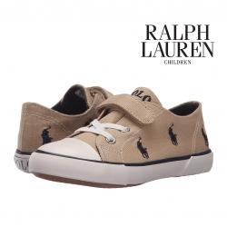 รองเท้าผ้าใบสำหรับเด็ก Polo Ralph Lauren Kids Kody Khaki / Navy Canvas Sneaker for Toddler (17CM)