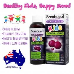 วิตามินเสริมภูมิคุ้มกันพร้อมต้านอาการไข้หวัดและไอมีเสมหะ Sambucol Black Elderbery Cold & Flu Kids Cough Liquid